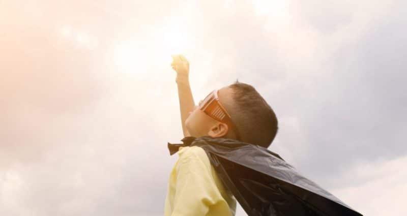 Child dressed as a superhero