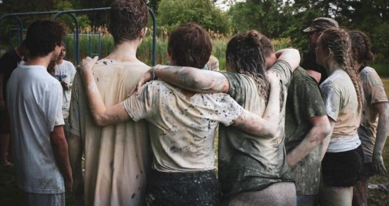 Group of people huddled together